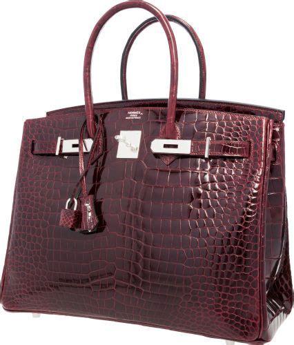 Hermes Croco Glossy hermes 35cm shiny bordeaux porosus crocodile birkin bag withpalladium hardware accessories