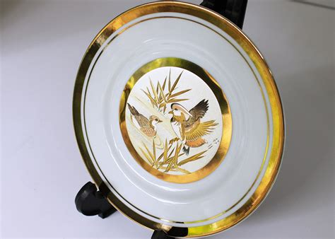 Plat Bunga Emas Gold silver copper 24k gold japanese chokin plate with display