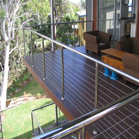 Railing Tangga Premium Ss 304 Plat exterior wood deck 316 stainless steel handrail polished stainless steel cable railing