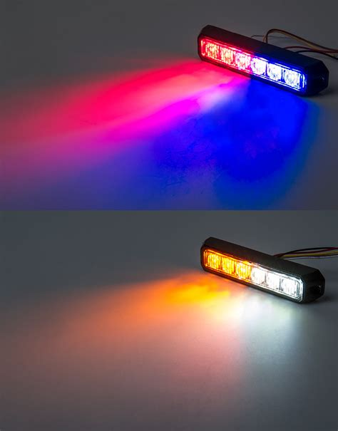 red and blue strobe two color vehicle led mini strobe light head built in
