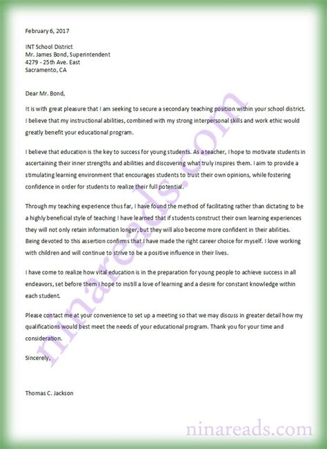Teaching Cover Letter In Kenya secondary cover letter image collections cover