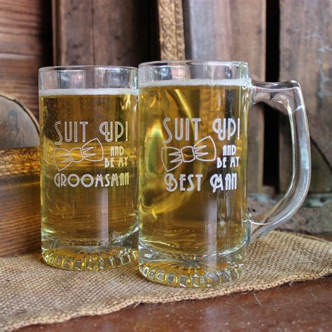 Suit Up Wedding Party Engraved 13 oz Glass Beer Mug
