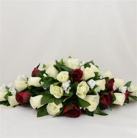 Silk Flower Arrangements Burgundy Amp Ivory Rose Wedding Table Decoration Arrangement