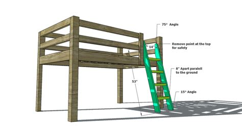 Bunk Bed Ladder Plans Free Woodworking Plans To Build A Sized Low Loft Bunk The Design Confidential