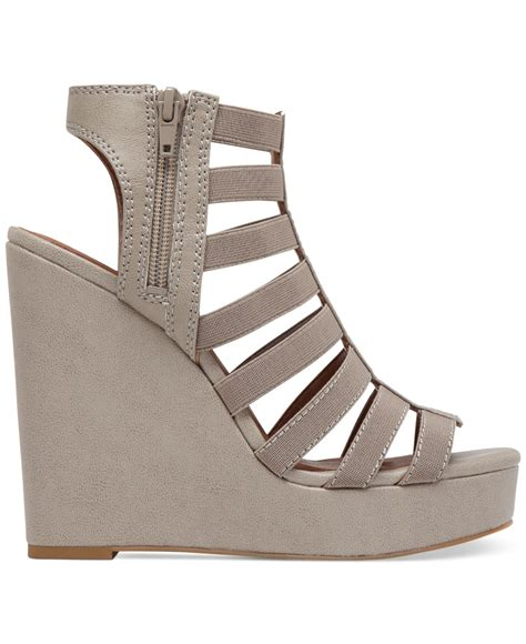 Sakia Sandiego Wedges Sandal Grey lucky brand s riona stretch wedge sandals in gray lyst