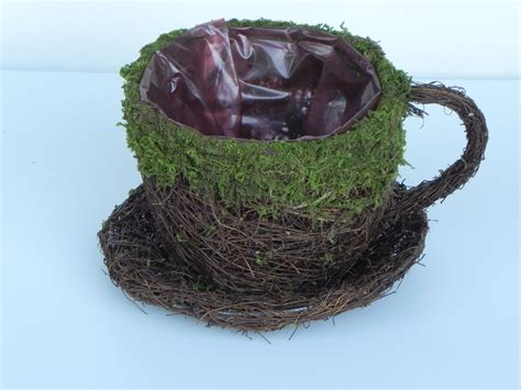 Tea Cup Planters by Tea Cup Planter Moss And Vine Twig Container With Liner