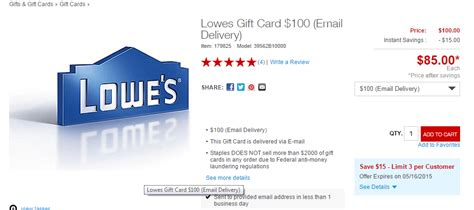 Lowes Printable Gift Cards - 100 lowes gift cards for 85 at staples limit of 3 doctor of credit