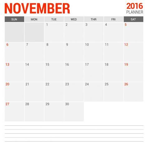 calendario 2016 mensile plan novembre 2016 calendario mensile scaricare vettori gratis