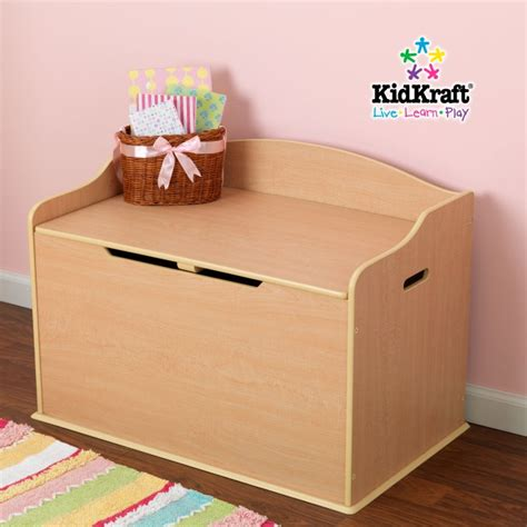 wood toy box bench kidkraft austin natural wooden toy box chest bench ebay