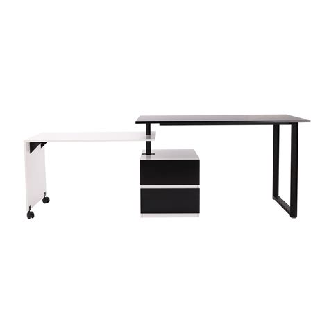 Homcom 52 85 Swivel Computer Table Desk Black White Black White Desk
