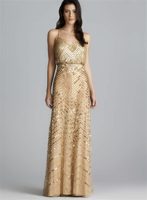 Gold Bridesmaid Dress by Papell Cross Back Sequined Blouson Dress By