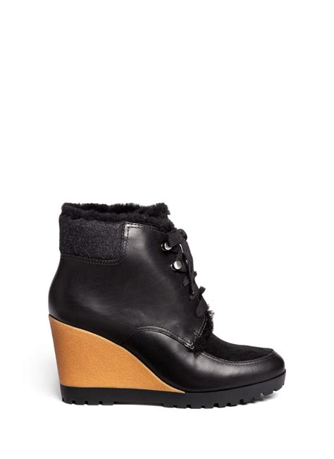 cole haan henson waterproof leather wedge boots in black