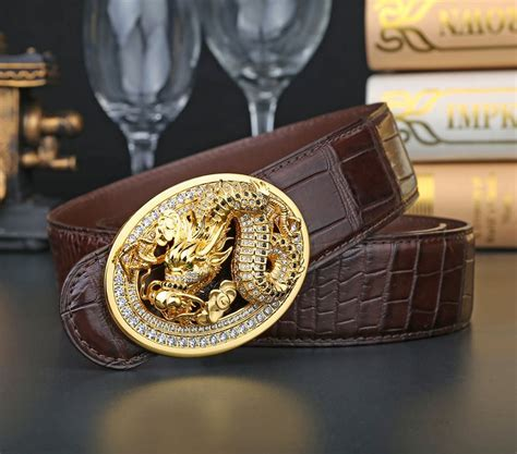 pin crocodile skins on alligator skin belt with zircons and pattern pin buckle