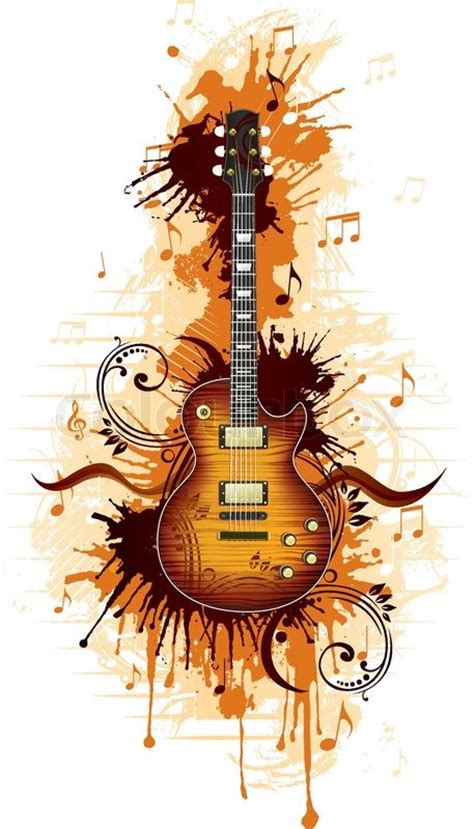 electric guitar with abstract svirl isolated on white
