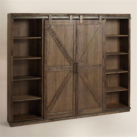 wood barn door storage cabinet wood farmhouse barn door bookcase metal accents barn