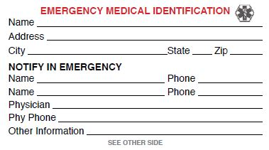 printable emergency card template template for badge free id card click to view