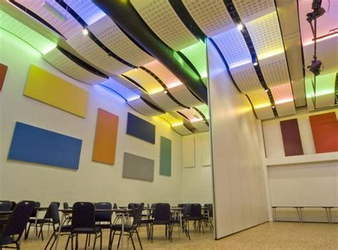 curved ceiling panel offers acoustic properties retrofit