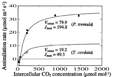 temperature response curve of rates of leaf respiratory co2 release r exles of net photosynthesis a n versus intercellular co 2