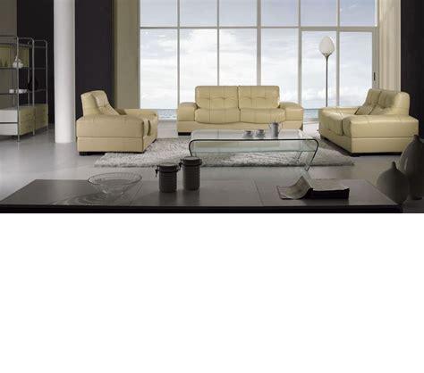 dreamfurniture bo3884 modern beige leather sofa set