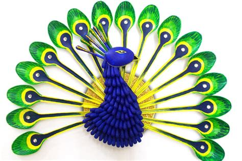 Home Decoration Craft Ideas by Plastic Spoon Peacock Fun Family Crafts