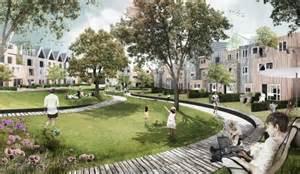 Brick architecture shared garden green spaces public garden