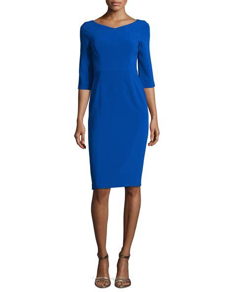 V Neck Sleeve Sheath Dress black halo 3 4 sleeve v neck sheath dress in blue lyst