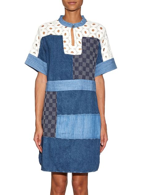 Patchwork Dresses - lyst sea patchwork denim and lace dress in blue