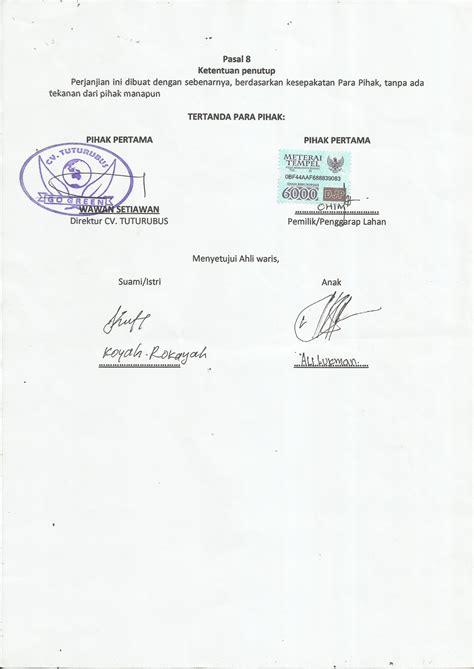 gerakan nusantara hijau contoh perjanjian kontrak kerjasama lahan