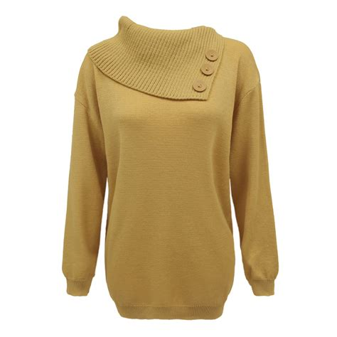 Jumper 5 In 1 Pendek womens knitted 3 buttons polo neck pullover sweater jumper top plus sizes ebay