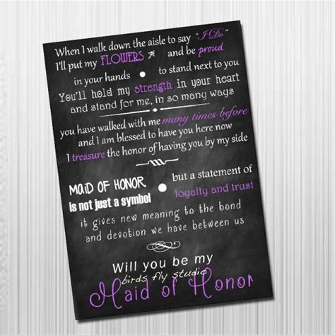 will you be my poems diy printable will you be my of honor card of