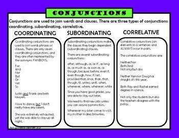 conjunctions coordinating subordinating correlative