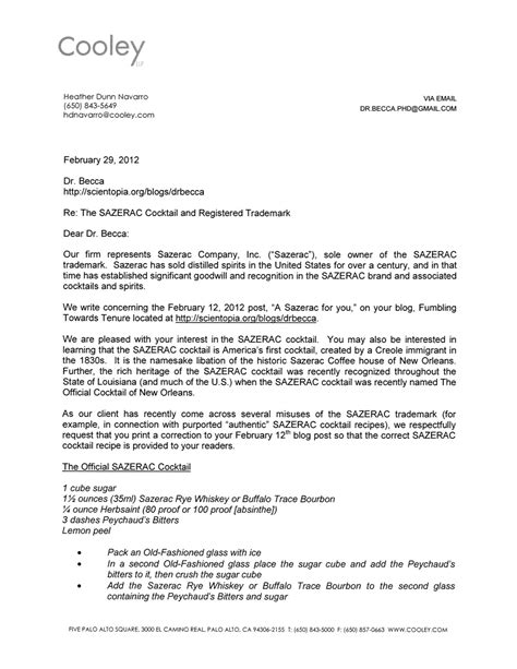 Lemon Letter Of Complaint Adventures In Trademark The Sazerac Saga Fumbling Towards Tenure
