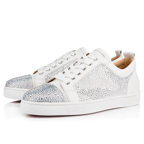 Jr Flat Swarovski Shoes 698 2 christian louboutin louis junior embellished low top leather trainers in white light grey modesens