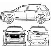 CAR Blueprints  GMC Terrain Vector Drawings