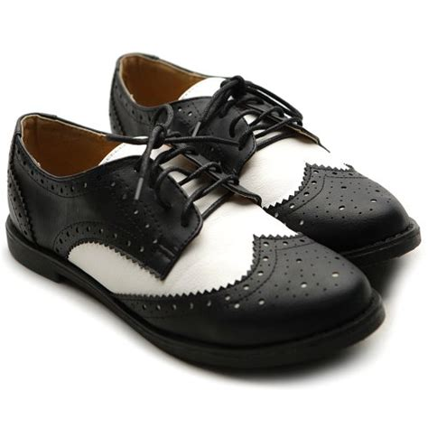 ollio oxford shoes ollio s flat shoe wingtip lace up two tone oxford
