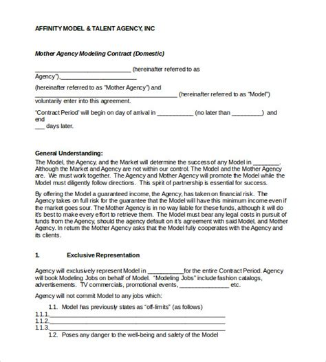 Agreement Letter Model Booking Contract Template 9 Free