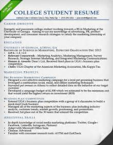 Resume For College Student by Resumes For College Students Internships Galleryhip Com