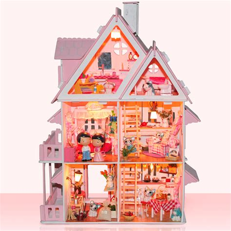 Handcrafted Doll Houses - pink diy wooden miniatura doll house