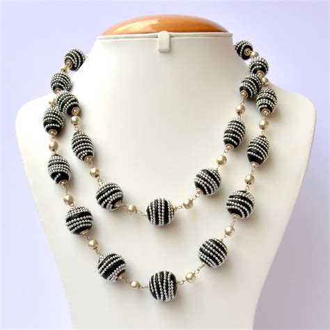 Handmade Necklaces - handmade black necklace studded with silver metal chain