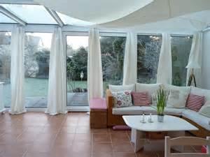 wintergarten vorhänge funvit rustikal wohnzimmer