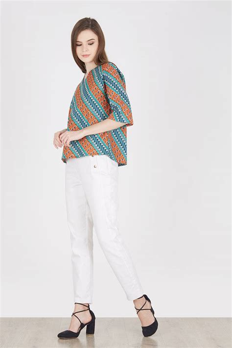 Celana Panjang White Jeggings A Putih 35 36 Jumbo Bigsize sell raylie batik blouse in orange batik print