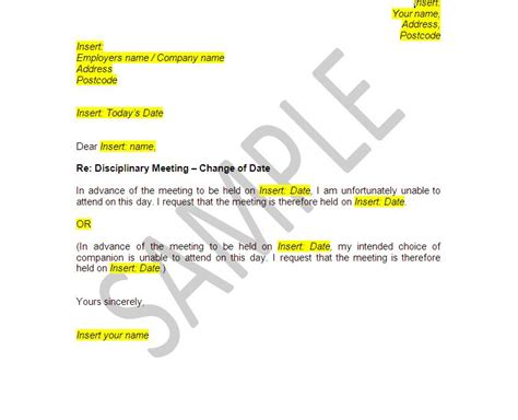 Appeal Letter Template Acas Poor Conduct Documents Disciplinary And Dismissal Employee Pack The Stop