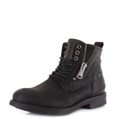 mens replay dynamo black suede leather casual ace up ankle