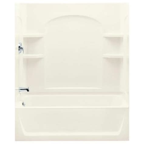 ensemble 5 ft bath shower with left drain in biscuit