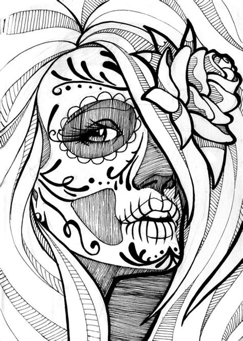 day of the dead catrina coloring pages best 25 sugar skull girl ideas on pinterest sugar skull