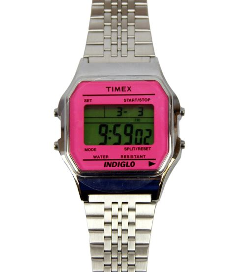 timex 80 retro 1980s silvertone digital with pink lens