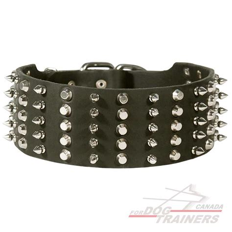 Superior Spiked Dog Collars #3: Dog-leather-collar-spiked-studded-wide-designer-product-C91-Canada-big.jpg