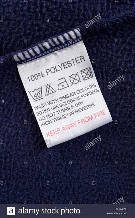 polyester clothes wash care instructions label england uk stock photo royalty free image
