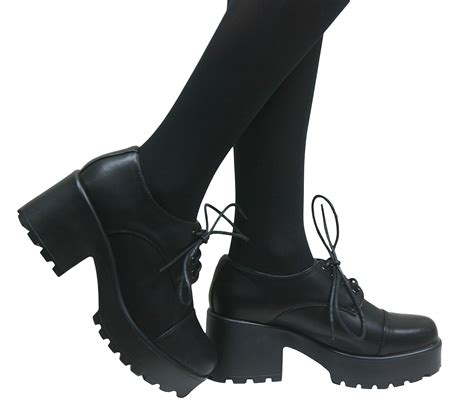 shoes for school costume womens vintage lace up chunky brogues school pumps