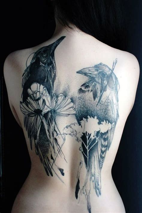 abstract crow tattoo on full back
